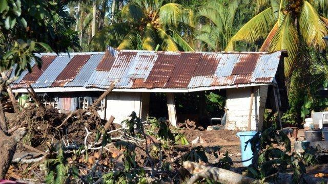 A Samoan home after Cyclone Evan's destructive impact.