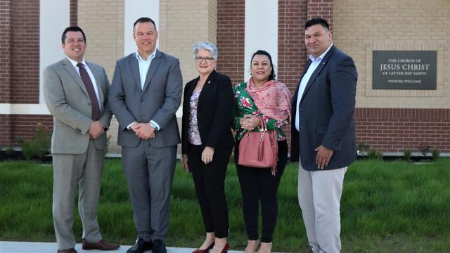 Members and Guests of The Church of Jesus Christ of Latter-day Saints Tour New Stake Centre