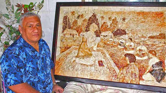 Tonga King and Queen presented artwork by artist Tevita Pola
