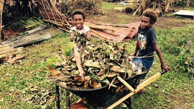 Vanuatu Children Cleanup Cyclone Pam March 2015