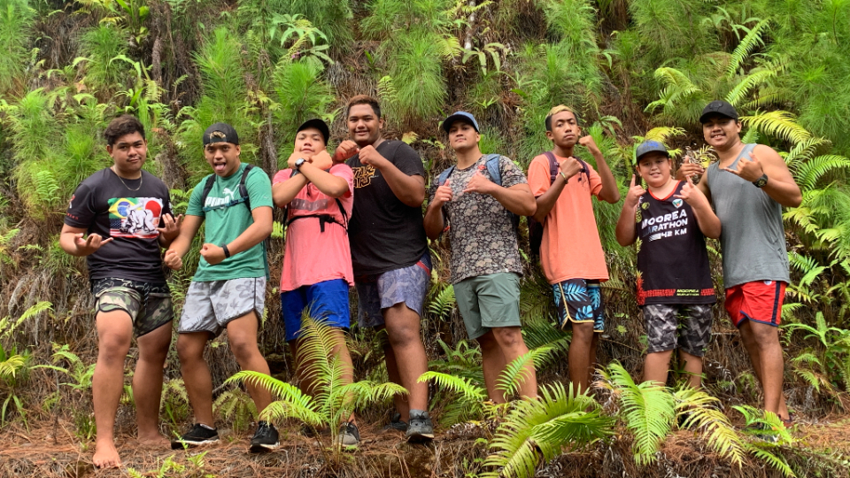 These-young-men-from-the-Maraa-ward-in-Tahiti-worked-together-to-create-a-humorous-video-to-just-say-no-to-violence.-French-Polynesia,-August-2021