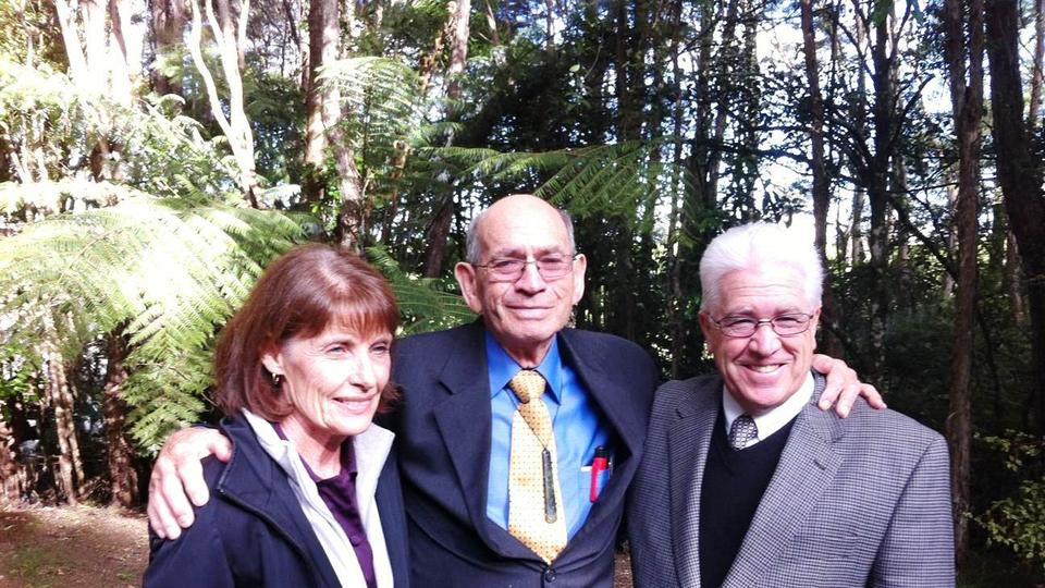 Roger Hamon, center, with Don and Rosemary White