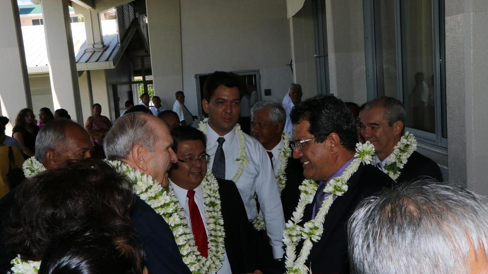 Elder Nelson French Polynesia greets members and guests Feb 2014