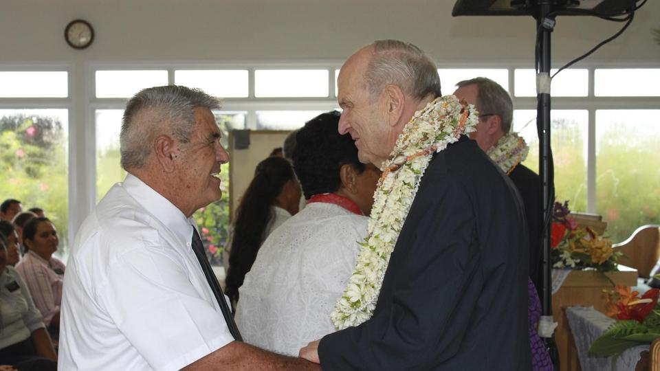 Elder Nelson greets French Polynesian Latter-day Saint Feb 2014