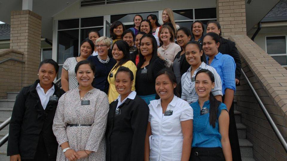 Sister missionaries at New Zealand MTC with Sister Burton and Sister Wixom 22 February 2013