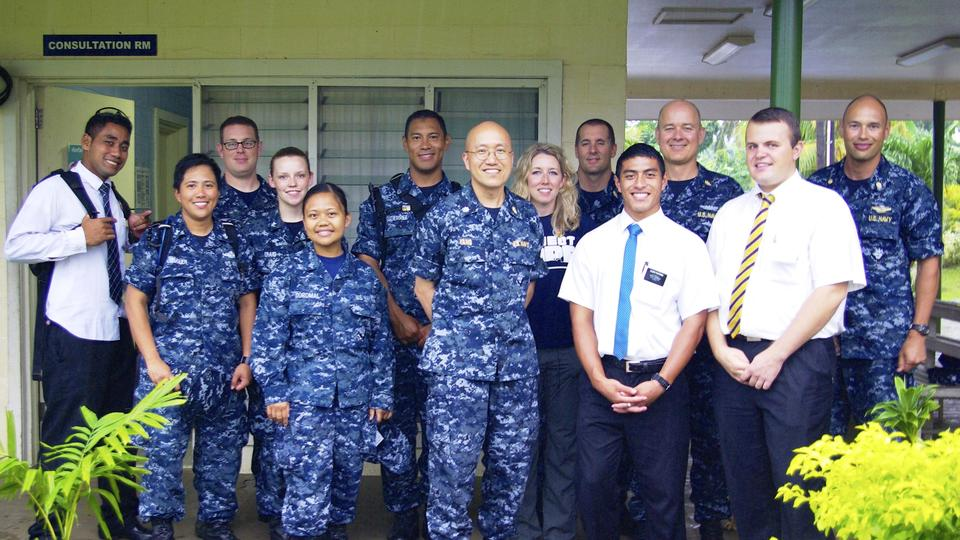 Pacific Partnership medical team (US Navy), Project Hope volunteers and missionaries meet at Poutasi District  Hospital