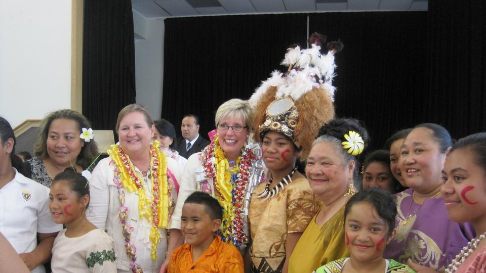 Sister Wixom and Sister Hamula in Auckland with Primary children February 2013