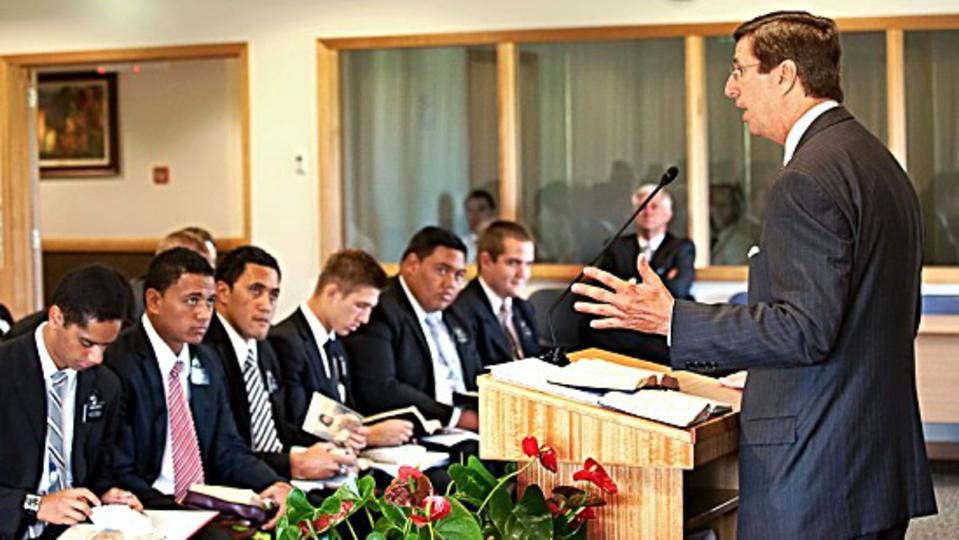 Elder Kevin W. Pearson addresses new missionaries at the Missionary Training Centre in Auckland, New Zealand last week.
